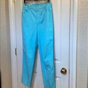 Escada new turquoise cotton/elastane pants -42